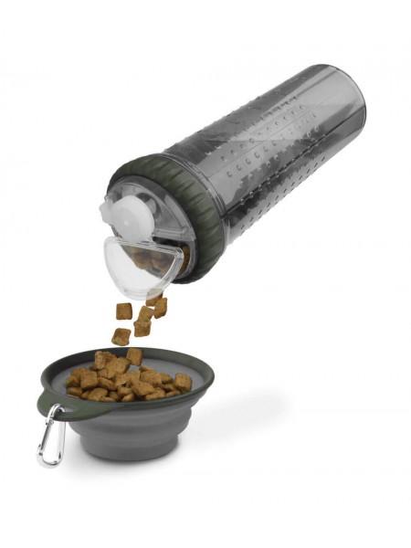 Snack-Duo with Companion Cup Пляшка подвійна прозора під рідину та корм зі складною мискою