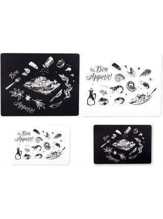 Grippmat® Set Printed Designer White and Black Набір дошок з чорно-білим принтом 4 шт